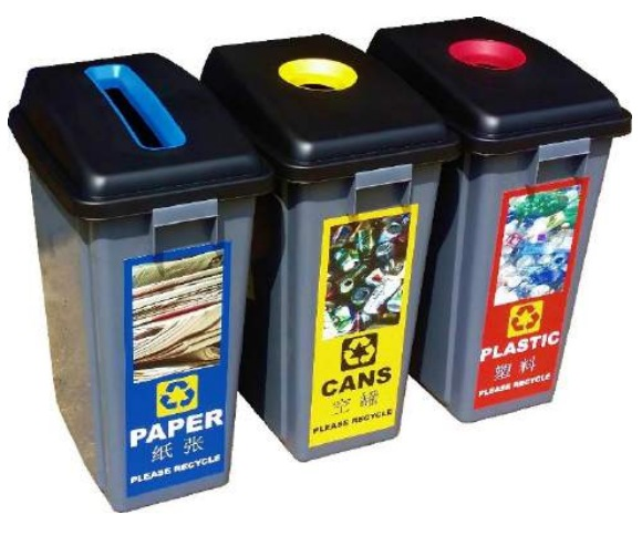 Rectangular Plastic Recycle Bin Paper/can/plastic TOL60R5 (set)