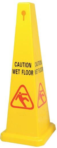 CAUTION SQUARE CONE 920MM - WORDING WET FLOOR