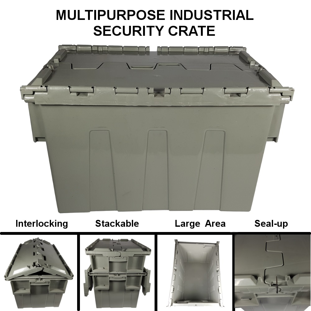 PLASTIC STORAGE BOX WITH LID (INDUSTRIAL SECURITY CRATE) 5675