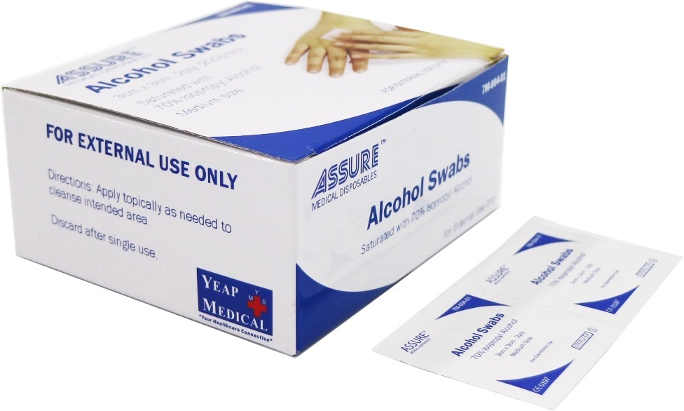 ASSURE ALCOHOL SWAB STERILE 3CMX3CM,2PLY 200'S/BOX