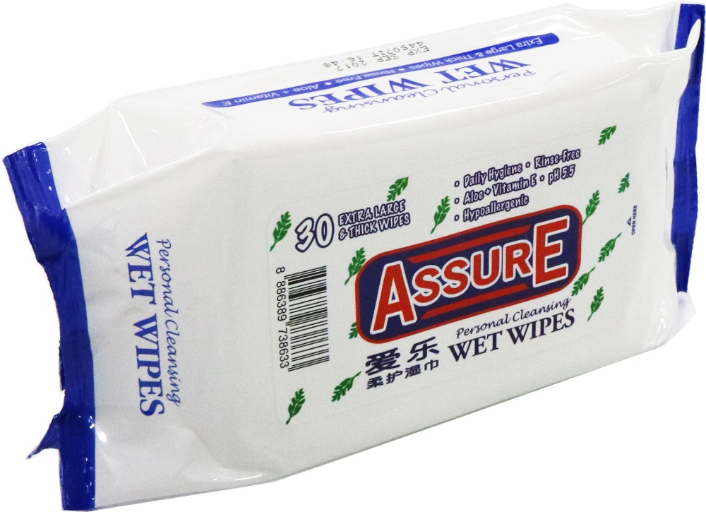 ASSURE PERSONAL CLEANING WET WIPES AW1830 18CMX30CMX70G - 30PPP