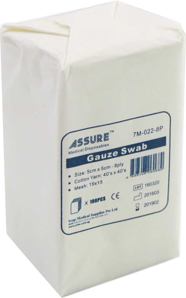 Assure Non Sterile Gauze Swab 8ply 7M0228P (pack of 100 Pieces)
