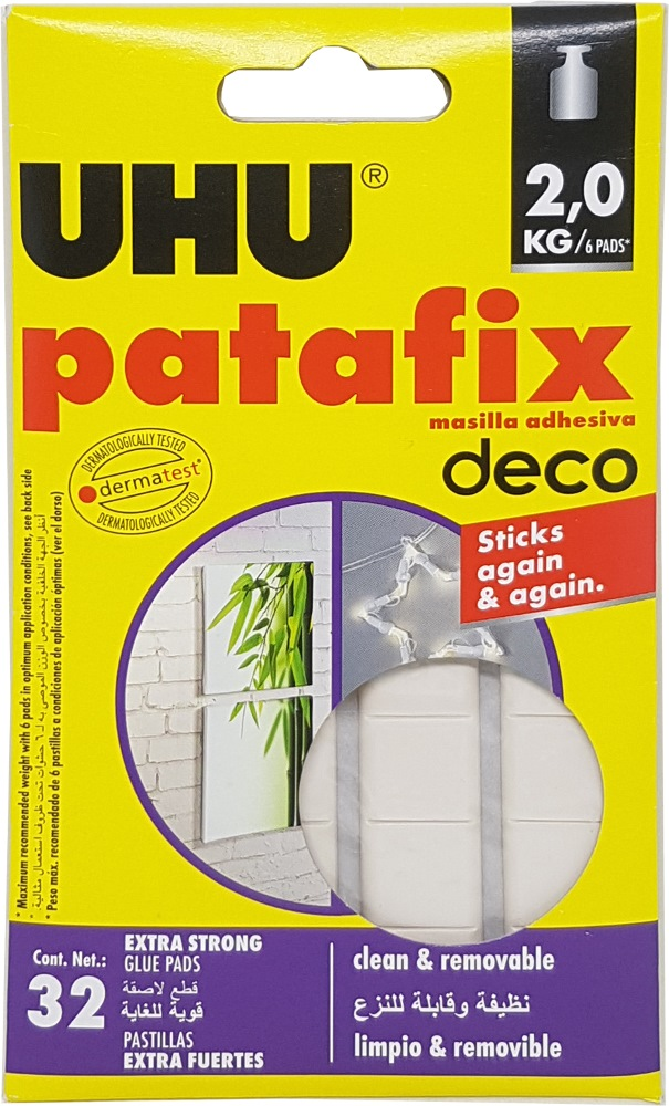 UHU PATAFIX HOMEDECO WHITE,REMOVABLE ADHESIVE UP TO 2KG - UH40660