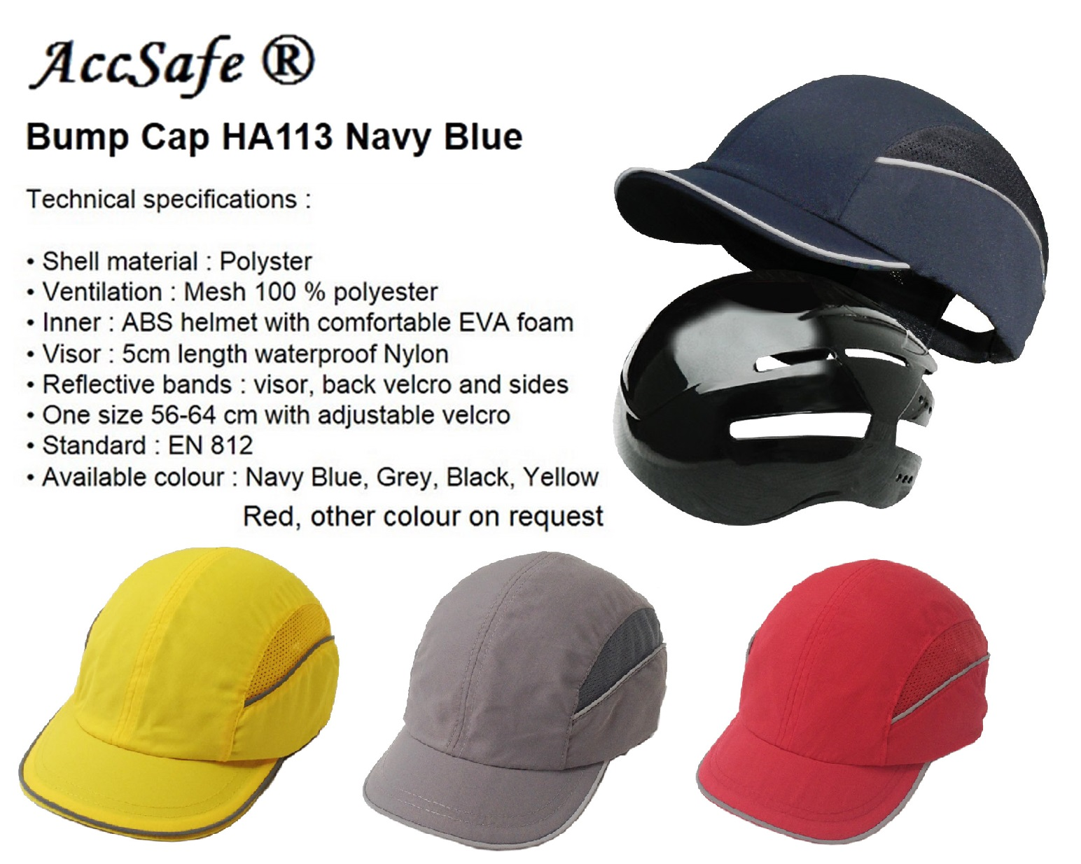 Accsafe Industrial Bump Cap HA113 (inner Plastic Only)