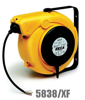 Zeca/Italy Retractable Cable Reel - 8 Conductor (Conductors section = 8mm², 5.5mtr+1.5mtr coiled cables)