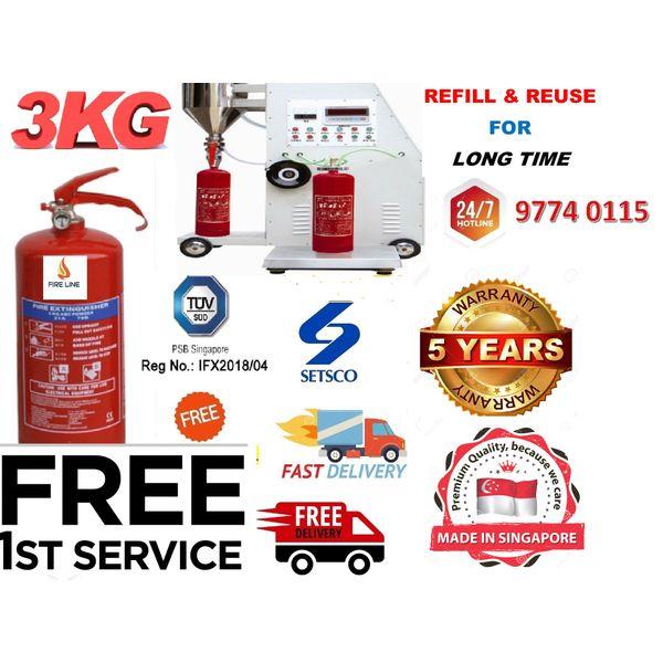 3kg Certified Dry Powder Fire Extinguisher ( 05 Years Warranty)