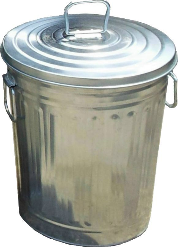 20 Litres Round Outdoor/ Indoor Galvanized Garbage Can C/w Lid.