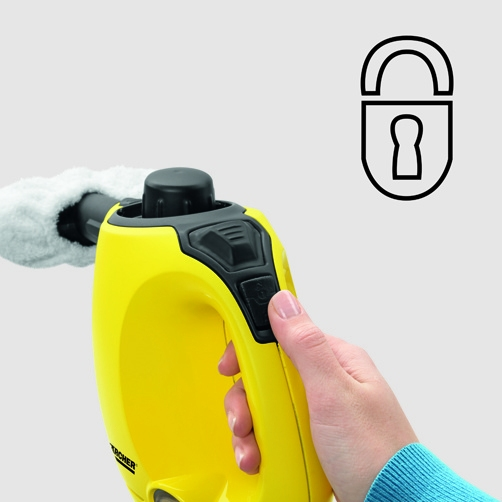 Child safety lock on device A locking system offers reliable protection against improper use by children.