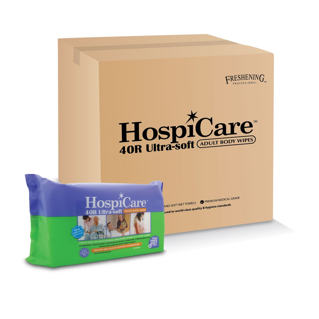Hospicare 40r Ultra-soft Adult Body Wipes (15 Pack a Carton)
