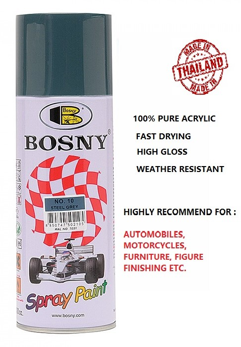 Bosny 100% Acrylic Spray Paint NO.10 Steel Gray (box of 12can)