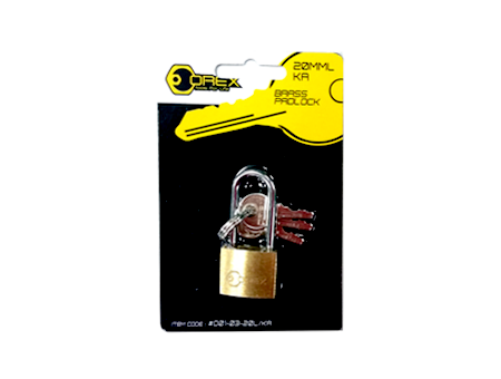 Orex Brass Pad Lock, Key Alike, Long Shackle
