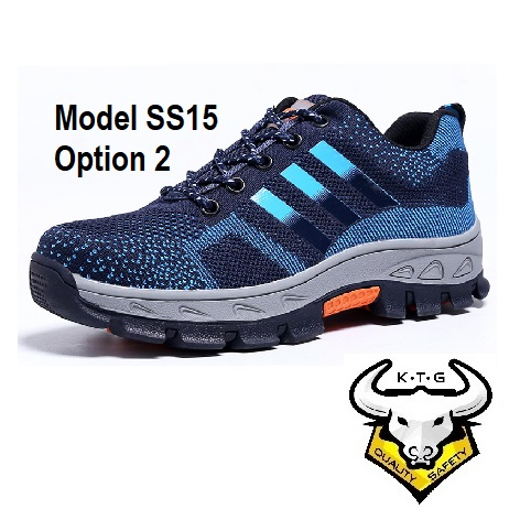 Ktg Steel Toe Sports Safety Work Shoes / Boots Model Ss15 - Blue Reflective Stripe