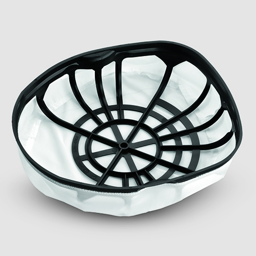 Main filter basket  Large permanent main filter made from washable nylon for optimal dust separation. For use with or without filter bag.