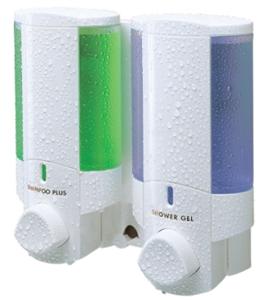 AVIVA II - WHITE/CLEAR DISPENSER- SHAMPOO/SOAP/LIQUID DETERGENT (76255)
