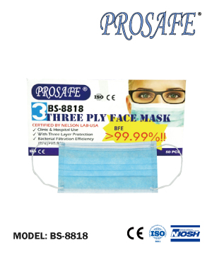 Prosafe Three Ply Mask (50pcs/Box) BS8818
