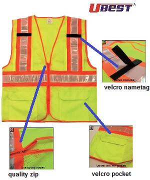 U-BEST Zip Type Red/Grey Reflective Safety Vest C/W Pocket & Velcro Name tag U-SV04