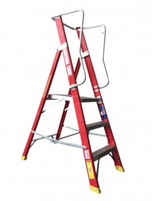 Spider Fibreglass 3-9 Step Platform Ladders With Guardrail