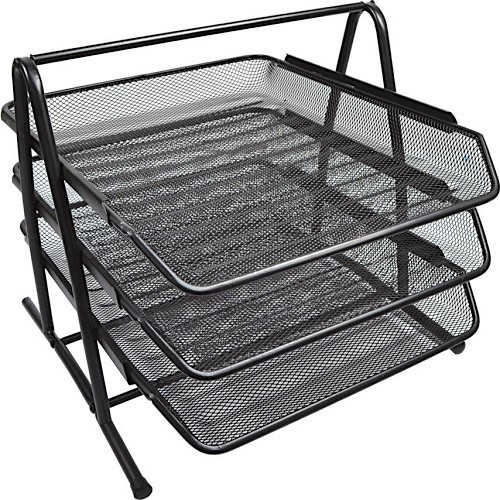 Metal mesh wire letter tray - 3 tiers