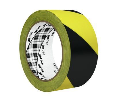 3m Adhsive Black and Yellow Hazard Warning Tape 33m 766