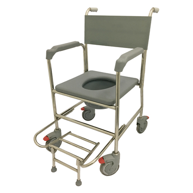 Lifeline Stainless Steel Commode With Plastic Fork & Pvc Seat Cushion 2087