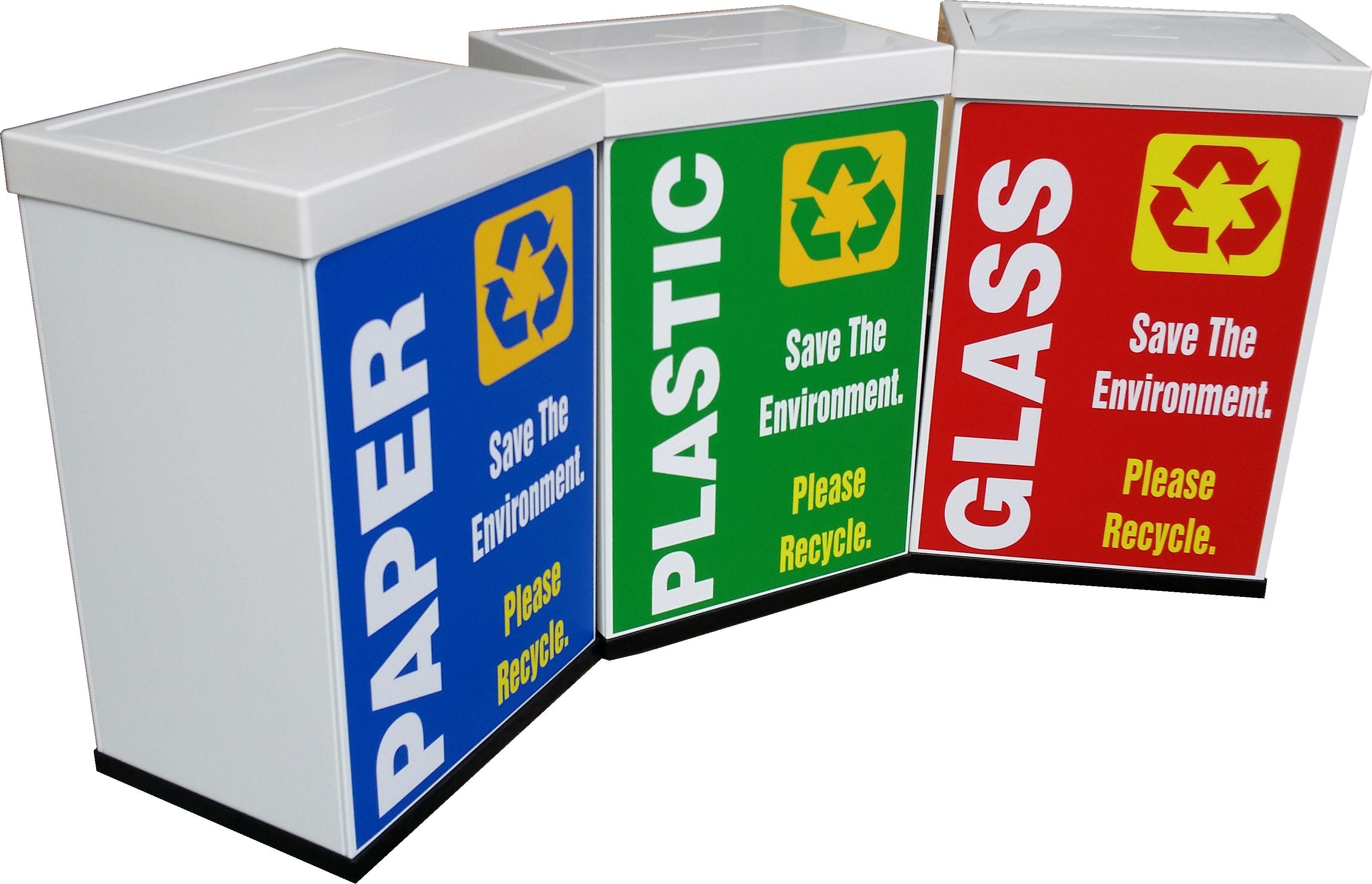Self Closing Metal Bin C/w Recycling Sticker
