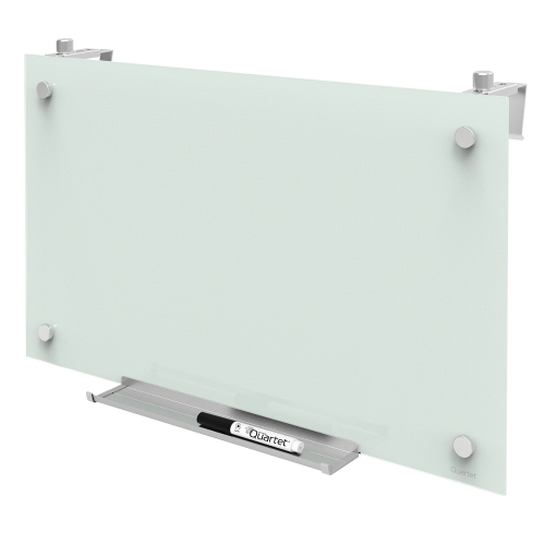 "QUARTET Magnetic Glass Dry-Erase Cubicle Board, 24"" x 14"", White Surface,Frameless"