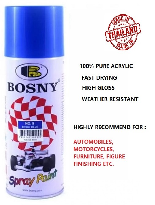 Bosny 100% Acrylic Spray Paint NO.9 Tivoli Blue (Box Of 12 Can)