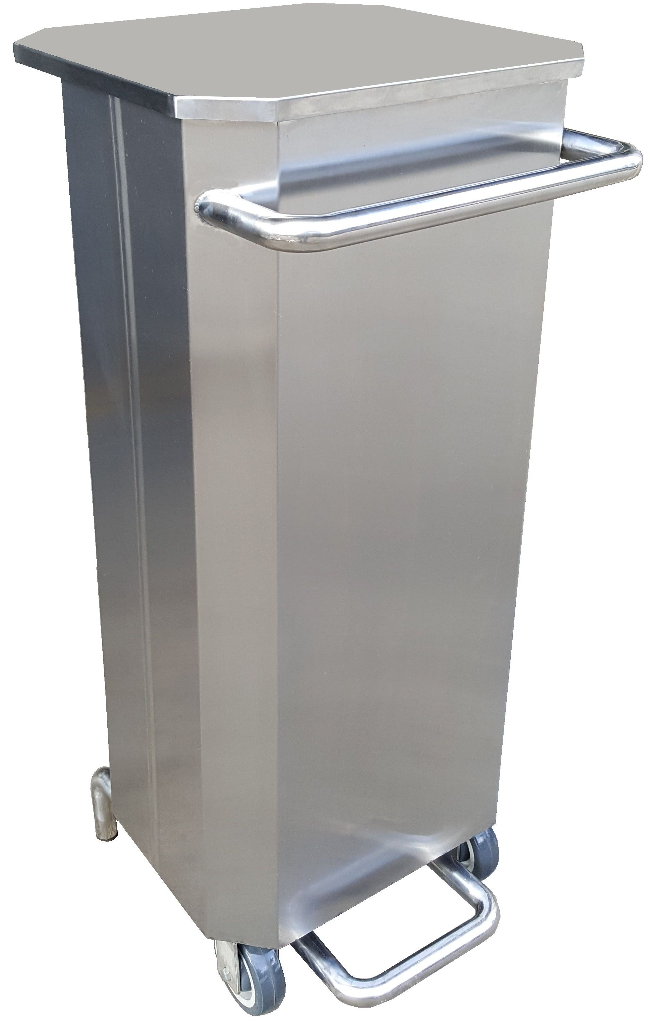 92 Litres 2 Wheels Stainless Steel Step on Foot Pedal Bin