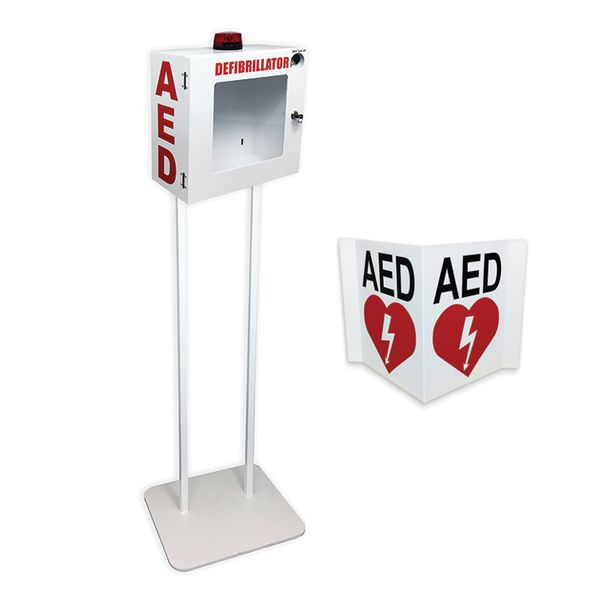 AED Alarm Enclosure with Hanging Floor Stand