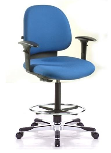 Benel Hilken Drafting Task Chair With Armrests and Footring on Castors