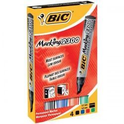 Bic Permanent Marker 2300 Chisel Red