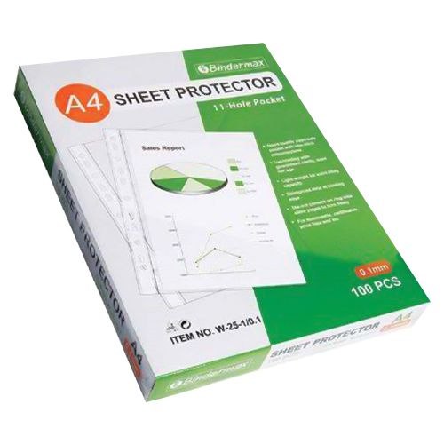 Bindermax 11 Hole A4 Sheet Protector 100 Pieces/pack