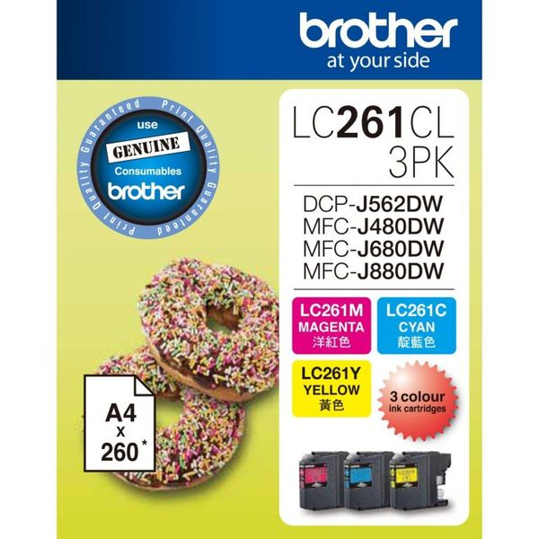 Brother Cartridge 3in1 Ink LC261CL 3PK