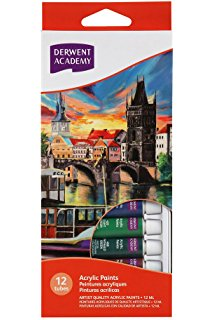 Derwent Academy Acrylic Paints 12 / 24 Pack