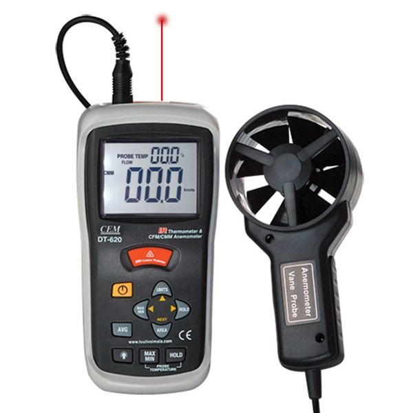 Cem DT-620 Cfm/cmm Thermo-anemometer With Infrared Thermometer