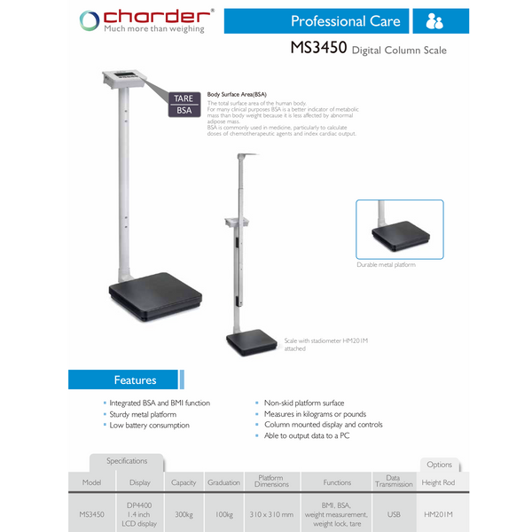 Charder Medical Scales W/ Manual Height Rod MS3450