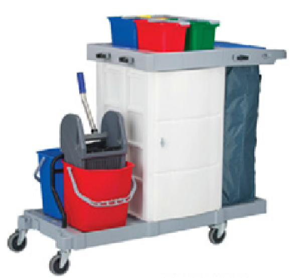 Consolidated - KLEENMAID COVERED MULTIPURPOSE CLEANING TROLLEY COMPLETE SET