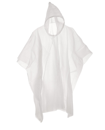 Disposable Rain Poncho With Hood (10 Pack)