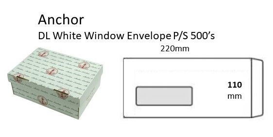 Dl 110x220mm White Windlow Peel/seal Envelope