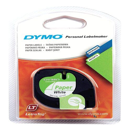 Dymo White Paper Letratag Tape 1.2cm S0721510