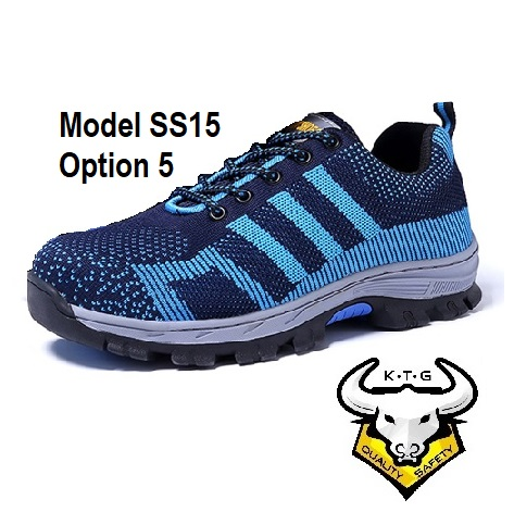 KTG Steel Toe Sports Safety Work Shoes / Boots Model SS15 - Blue Non Reflective Stripe
