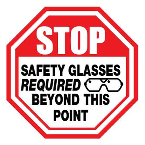 Ergomat Durastripe Stop - Safety Glasses Required Beyond This Point Sign