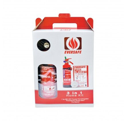 EVERSAFE 3-IN-1 HOME KIT (fire Extinguisher / Fire Blanket / Smoke Detector)