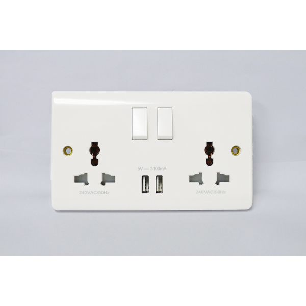 Fym up Series- 16a Double Universal Switch Socket W/2xusb Charger (2100ma)