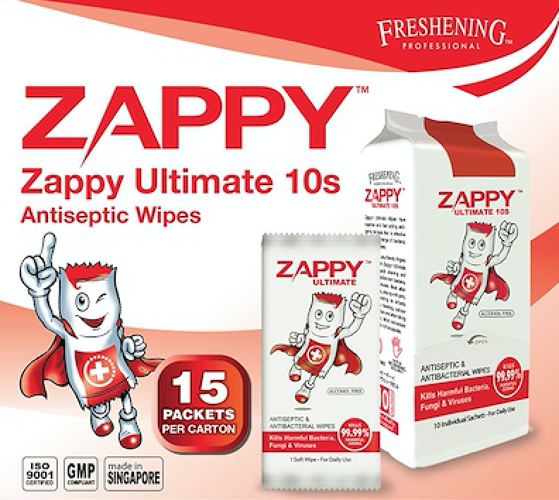 Zappy Ultimate Antiseptic Wet Wipes 10s (15 Pack a Carton)