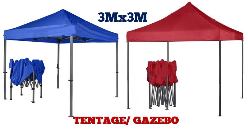 Gazebo/ Tentage for Outdoor Site 3mx3m- Blue and Red