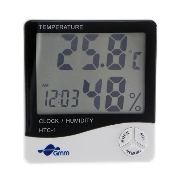 Gmm HTC-1 3-in-1 Lcd Digital Temperature and Hygrometer With Clock Function