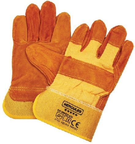 "Hercules 10.5"" Yellow Half Leather Hand Glove"