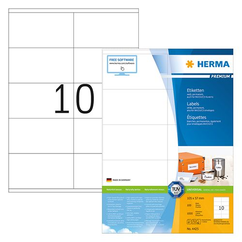 Herma A4 Premium Label 10.5 X 5.7cm 100 Sheets/pack 4425