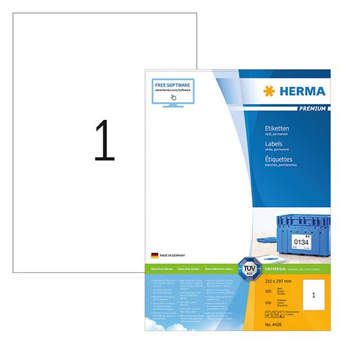 Herma A4 Premium Label 21 X 29.7cm 100 Sheets/pack 4428